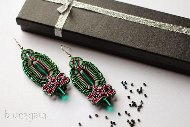 blueagata: Emerald soutache earrings