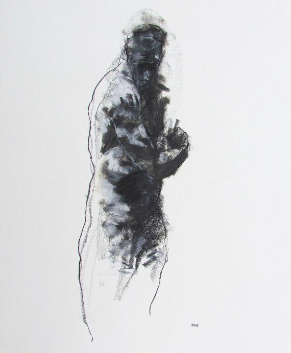 Contemporary Male Figure Drawing   11 x 14  by derekoverfieldart, $50.00