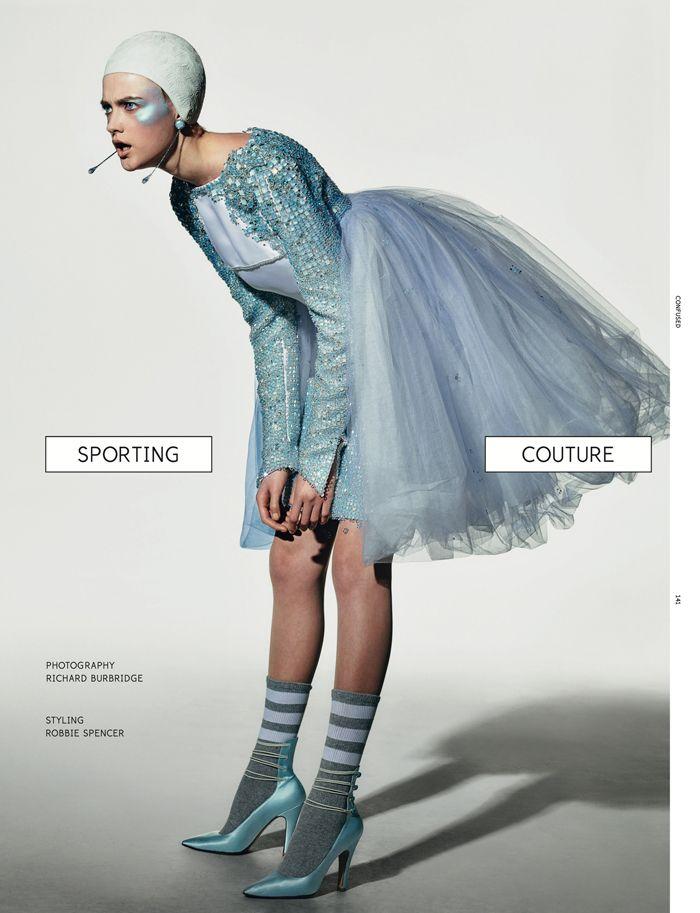 Couture Kick by Richard Burbridge for Dazed & Confused 2012. Styling: Robbie Spencer. Model: Vlada Roslyakova.