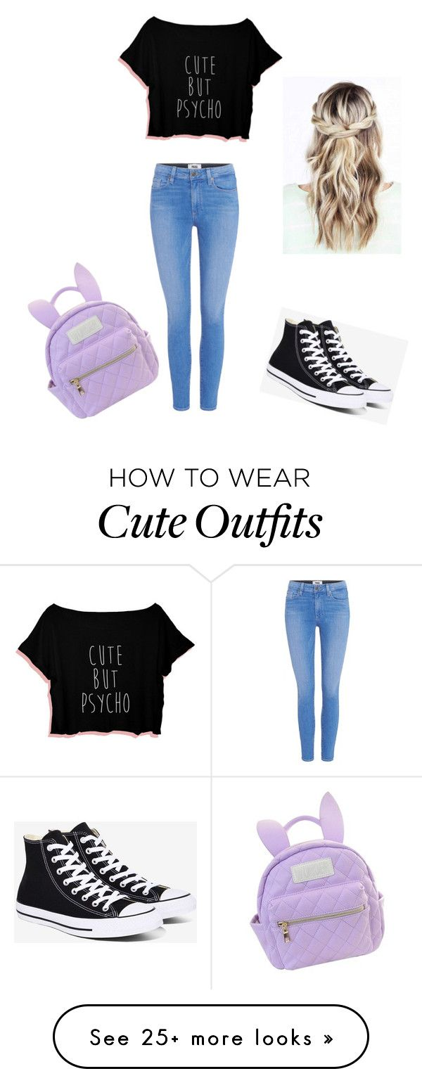 """""""High school outfit"""" by unicorn-donut on Polyvore featuring cutekawaii, Converse and Paige Denim"""
