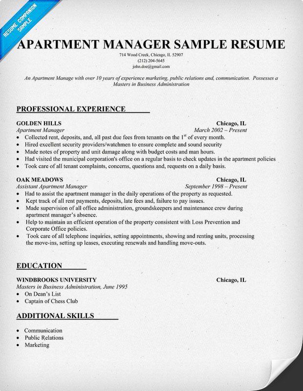 Apartment Manager Resume Sample  Work  Job resume samples Sample resume templates Manager resume