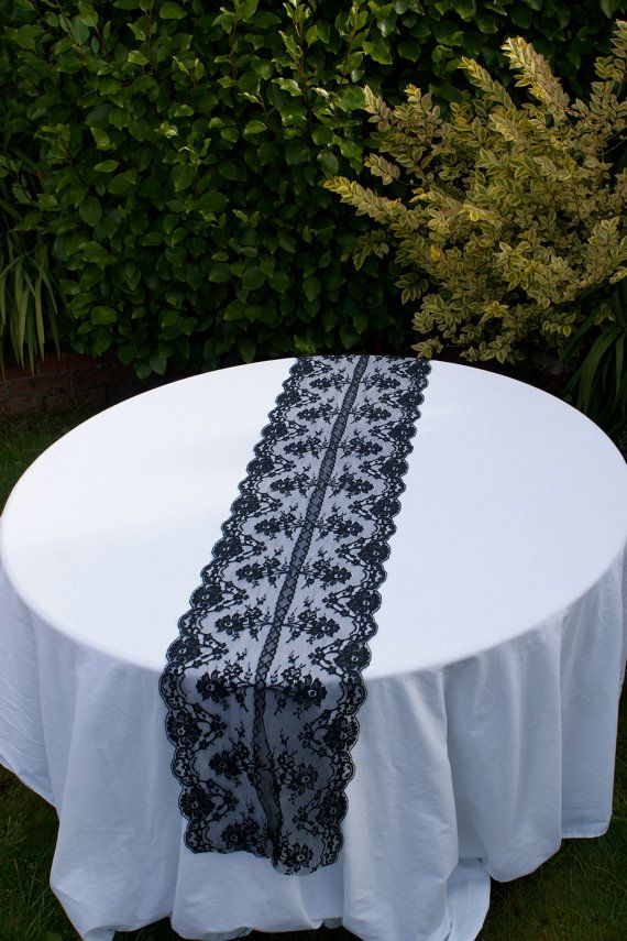Black lace table runner for your special by Littlewhiteboutique