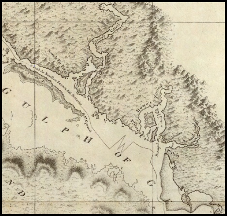 George Vancouver's map of the Sunshine Coast; note that Sechelt Inlet is missing. 1792.