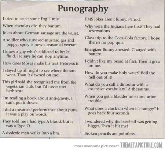 Puns for daily use…haha, some of these are pretty funny. Others are like, what?!
