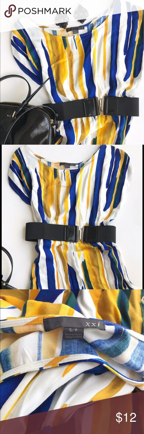 Blue and yellow forever 21 dress and belt Vibrant blue and yellow dress with black belt from By Forever 21. Excellent condition! (Purse and earrings not included; for styling purposes only) Forever 21 Dresses