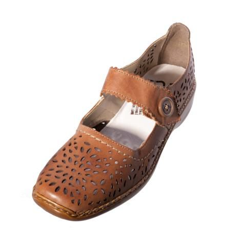 Womens Leather Shoes Low Heel Brown Rieker