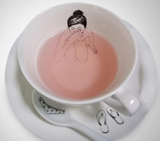 love a little nudity with my tea!Teas Time, Girls Generation, Skinny Dips, Teas Cups, Mugs Design, Bath, Cups Of Teas, Teas Sets, Teacups