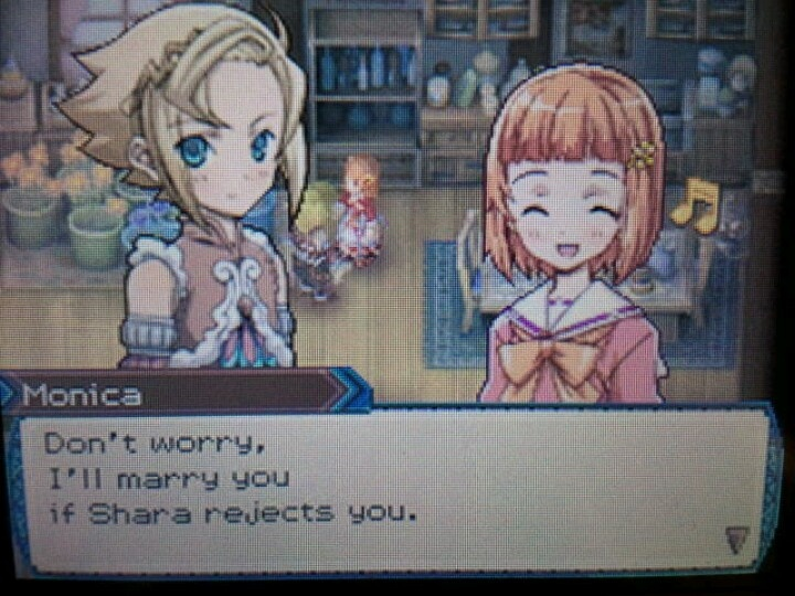 You know, Monica is pretty cute once you get passed her tendency to bite you. And no, I don't mean that in a pervy way. Though really, who exactly is supposed to snatch Shara up? Rusk? Pretty sure he's supposed to be Monica's age. And Gaius is in love with Evelyn.