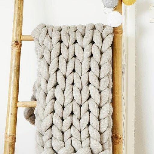 chunky xxl knit merino wool grof gebreid plaid deken merinowol ladder