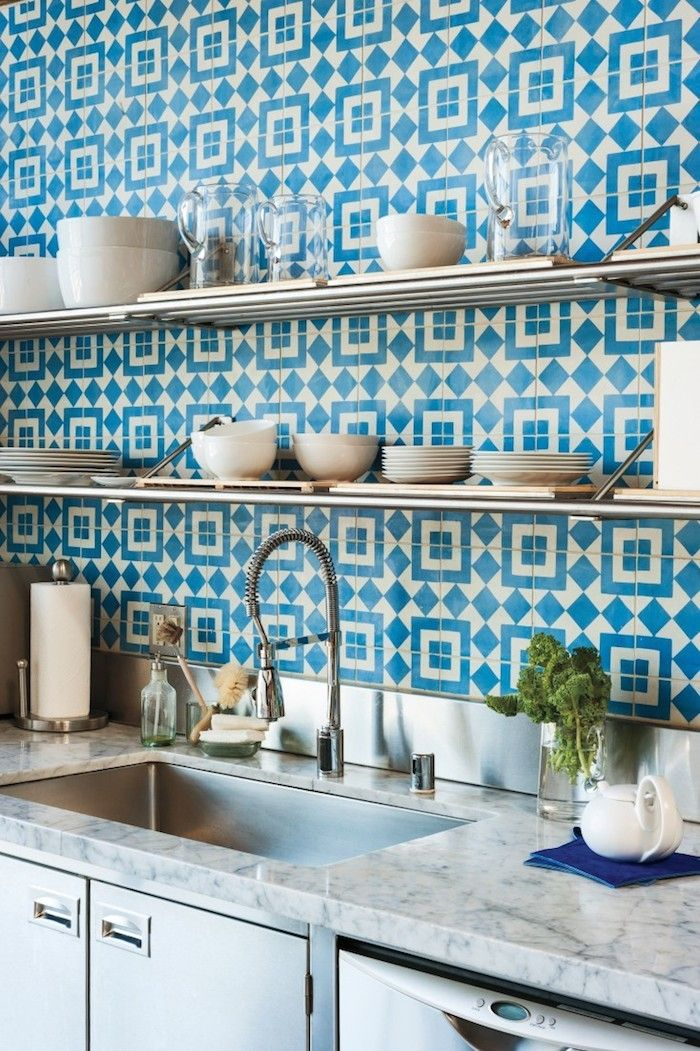 Handmade blue-and-white Fez encaustic cement tiles backsplash