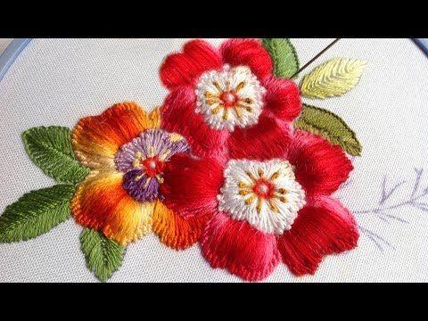 ВЫШИВКА: ЦВЕТЫ \ EMBROIDERY: FLOWERS Turkish stitch - YouTube