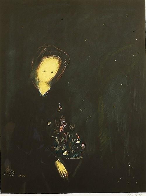 Fjell, Kai (1907-1989) :   Pike med blomst