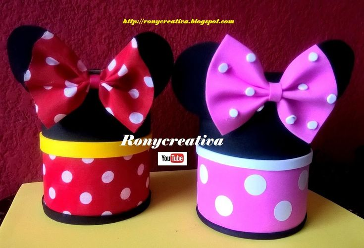 DIY Minnie & Mickey Mouse Foamy Candy Dish & pencil holder / Ronycreativ...