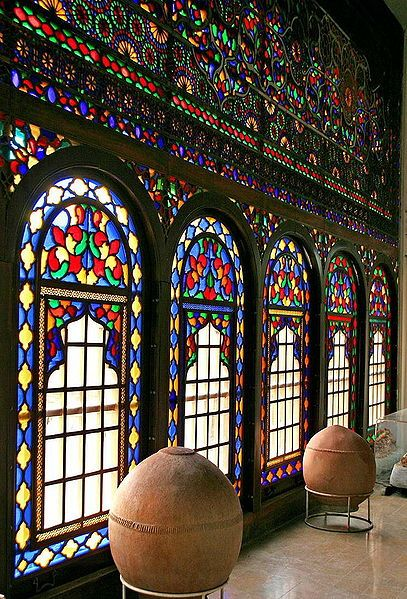 The beautiful Windows of the Kurdish Museum in Sînê, Kurdistan Province, Iran.