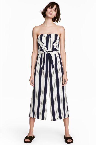 Strapless jumpsuit - White/Striped - Ladies | H&M GB 1