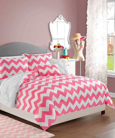 Look at this #zulilyfind! White & Pink Chevron Five-Piece reversible Comforter Set #zulilyfinds
