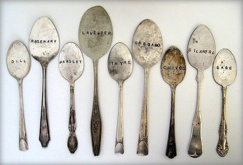 old spoons = herb markers