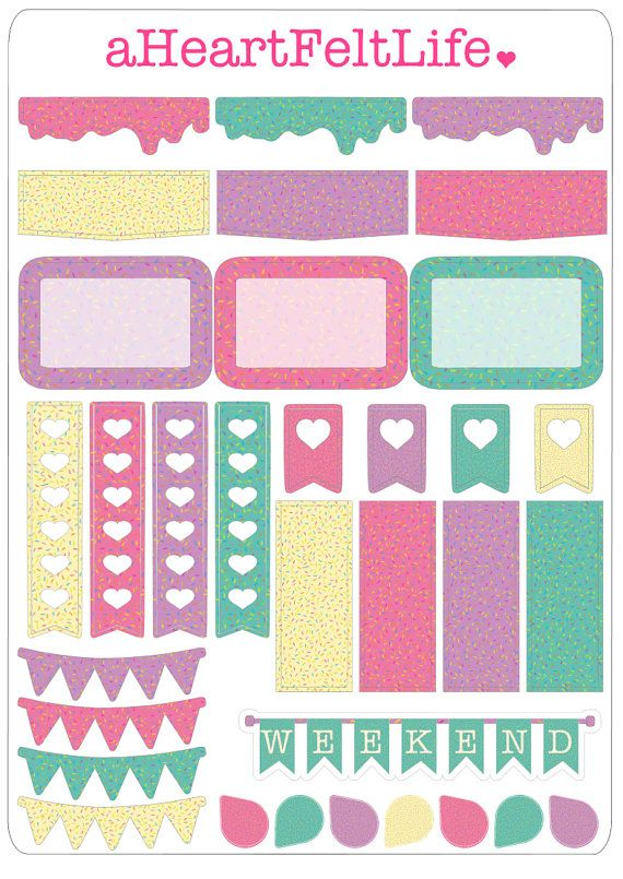Sprinkle banner stickers for your planner by for Esstisch 2 00 x 1 00