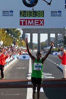 2:03:38 Patrick Makau setting the current World Record at the Berlin Marathon 2011.