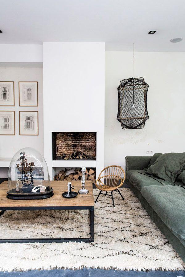 modern fireplace, moroccan rug, slubby velvet couch