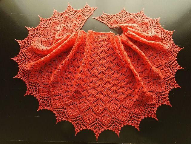 This is a crescent shaped lace fichu, knitted from the top down. The increases of the Body are made along the edges of the shawl in every row. The increases in the Edge are made along the edges of the shawl in each odd row. There is no central stitch in this shawl. The diagrams show only RS of the shawl, but you should work also the edge loop that is always K. The diagrams should be read from right to left.