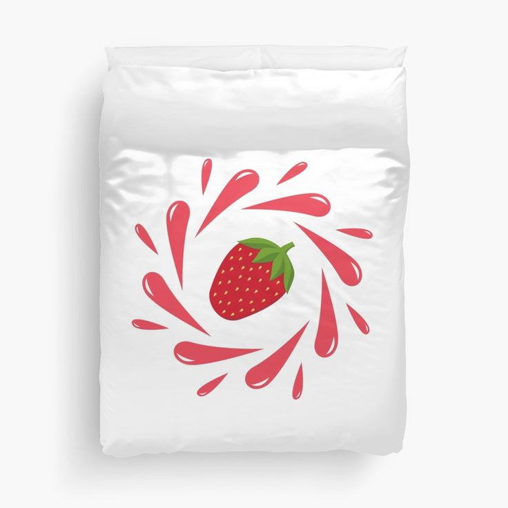 Strawberry splash by LunaPrincino  #lunaprincino #design #strawberry #berry #fruit #fresh #juicy #food #raw #vegan #red #splash #motion #graphic #drops #print #prints #redbubble #gift #idea #ideas #summer #vivid #graphics #cool #creative #style #home #decor #room #bedroom #duvet #cover #and #bedlinen #white #stylish #sleeping #for #kids #goodnight