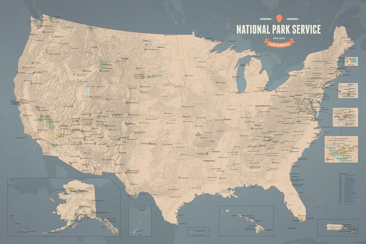 National Park Service Centennial Map 24x36 Poster from Best Maps Ever
