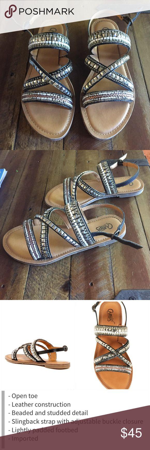 Carlos by Carlos Santana Mia sandal Lightly worn once , leather upper , man made sole Carlos Santana Shoes Sandals