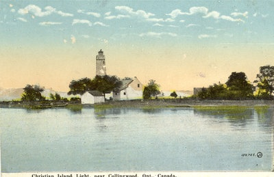 Christian Island Lighthouse in its heyday, from postcard, c.1920