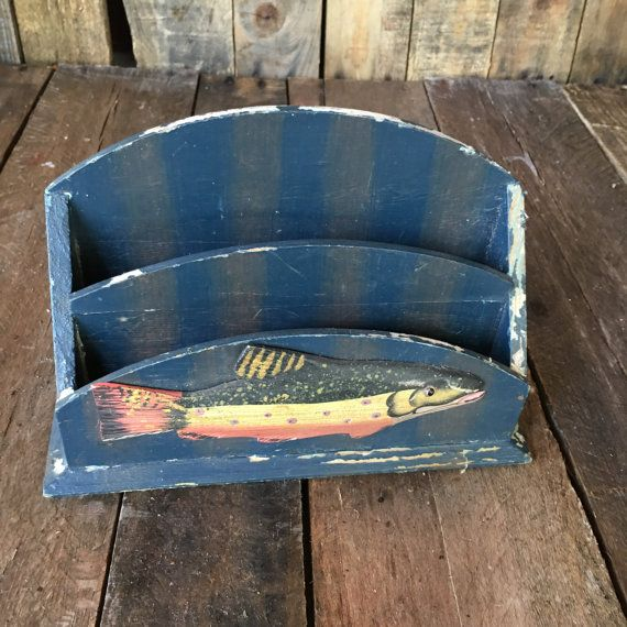 Vintage Envelope Holder Desk Storage Nautical Desk
