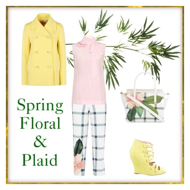"""Floral and Plaid"" by ladybug71181 on Polyvore featuring Pier 1 Imports, RED Valentino, Ted Baker, Oscar de la Renta and Rochas"