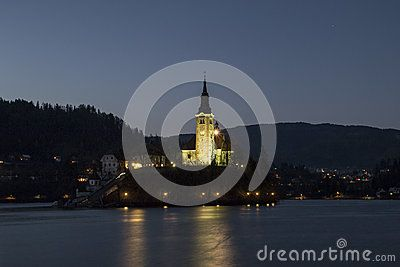 Night reflection and the lake of Bled in Slovenia