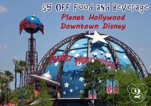 Save $5 off a food and beverage purchase at Planet Hollywood in Downtown Disney.