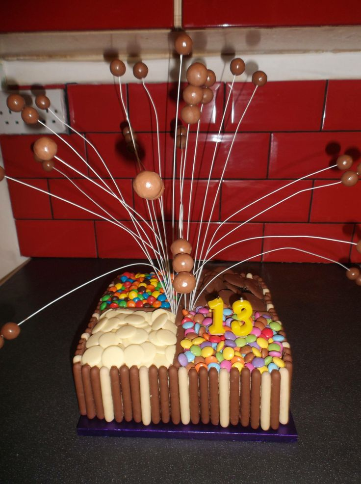 Rich chocolate cake covered in buttercream frosting chocolate fingers and fave chocolate sweets. I used mm, smarties, yorkie giant buttons and milky bar giant buttons. The maltesers are on cake wire with small picks inside the cake. Really simple to make but looks good.