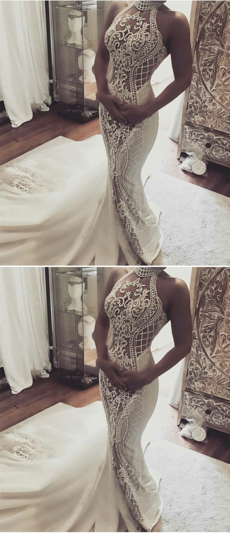mermaid halter wedding dresses with appliques beaded , gorgeous lace wedding gowns.