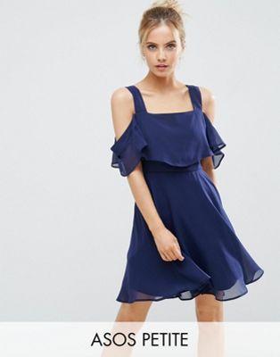 ASOS PETITE Cami Cold Shoulder Flutter Sleeve Mini Dress