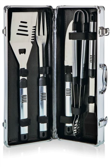 Gifts for Dad: The Picnic Time Fiero BBQ Tool Set includes all the utensils Dad needs to grill meat and veggies.