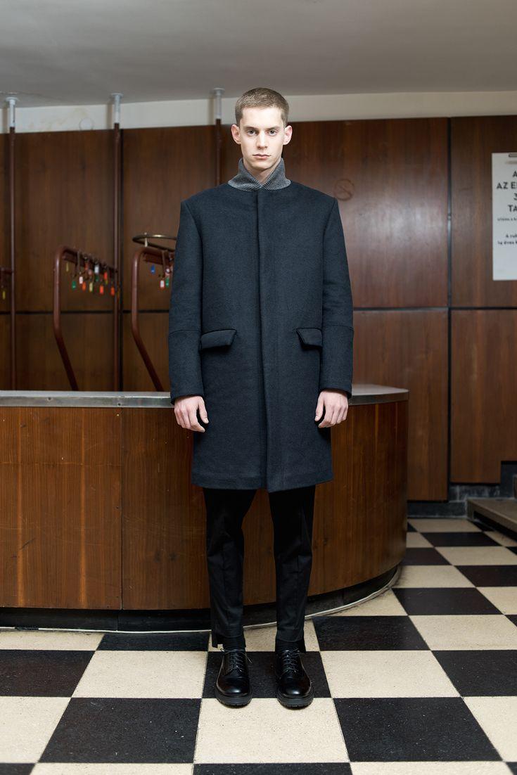 MEI KAWA | Midnight Blue Bomber Collar Wool Overcoat