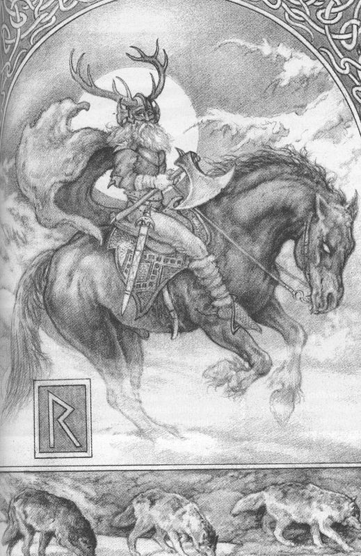 """*Raidō """"ride, journey"""" is the reconstructed Proto-Germanic name of the r- rune of the Elder Futhark ᚱ.  Old Icelandic ᚱ Reið er sitjandi sæla ok snúðig ferð ok jórs erfiði. iter ræsir. English translation: """"Riding is of sitting a blessing and swift journey and horses toiling."""""""