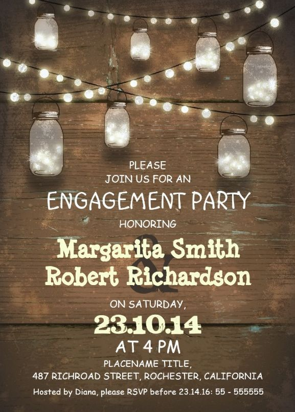 Wood engagement invitation card - rustic mason jars - lights. A Beautiful country engagement invitation. Customized online! More at http://superdazzle.com
