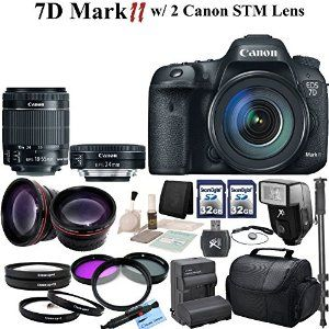 Canon EOS 7D Mark II Digital SLR Camera With Canon EF-S 18-55mm f/3.5-5.6 IS STM Lens & Canon EF-S 24mm f/2.8 STM Lens & CS Pro Kit: Includes High Definition Wide Angle Lens, Telephoto HD Lens, 3 Piece HD Filter Kit ,4 Piece Macro Close-up Set, 2x High Speed 32GB SDHC Memory Cards, SD Card Reader, Memory Card Wallet, Carrying Case, Full Size Monopod, Canon LPE6 Replacement Battery, Rapid Travel Charger, Lens Cap Keeper, Shoe Mount Flash, Brush Blower, Cleaning Kit  Canon $2,499.95