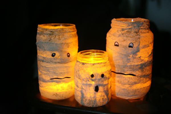 photophore Halloween momies en pots
