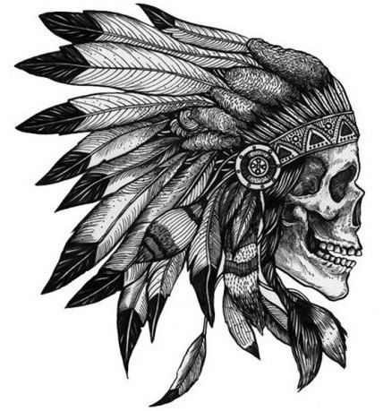 Native American Skull  Temporary tattoos by WildLifeDream on Etsy