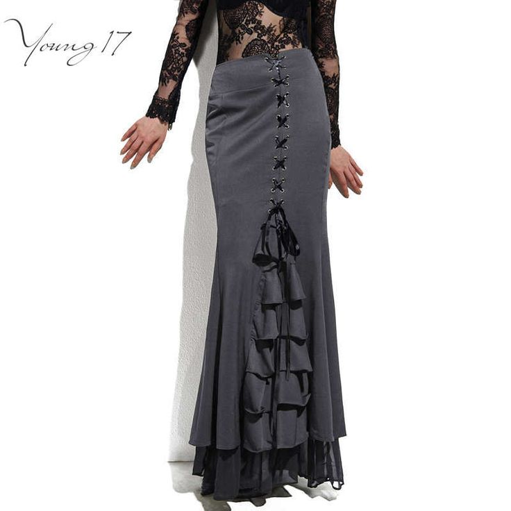 Young17 Skirt Long Frilly Women Sexy Fishtail Corset Lace-Up Slim Floor-Length Vintage trumpet sexy gothic style Mermaid skirts