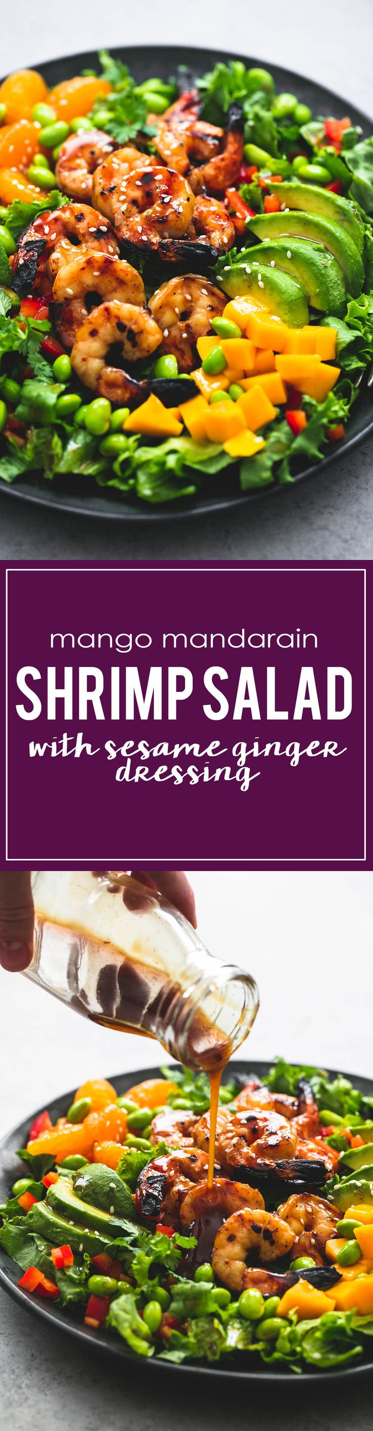 """Mango Mandarin Sesame Shrimp Salad! Would be absolutely wonderful! Would use the dressing on other salads too! Blogger says """"Big, bold Asian flavors bring this mango mandarin sesame shrimp salad to life and make it a hearty, yet simple and healthy dish!"""" Definitely!"""