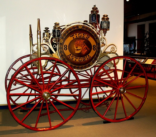 1857 Hand Drawn Hose Reel with 4 Wheel Steering - Astoria Hose Co. No. 8 - New York City
