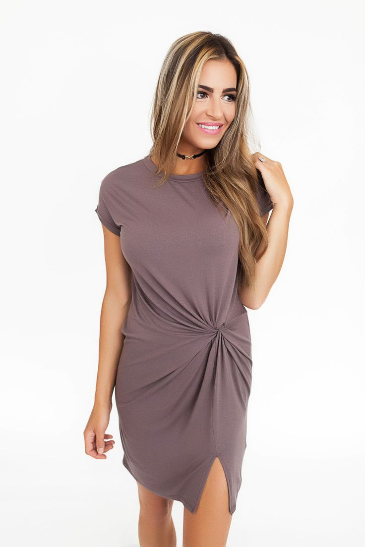 Mocha Twist Front Dress - Dottie Couture Boutique