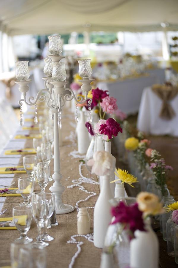 Spray Painted Bottles As Bud Vases And Candelabra Vintage Wedding Ideas Mwri