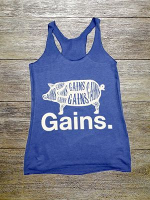 """""""Gains."""" Ladies Racerback Tank"""