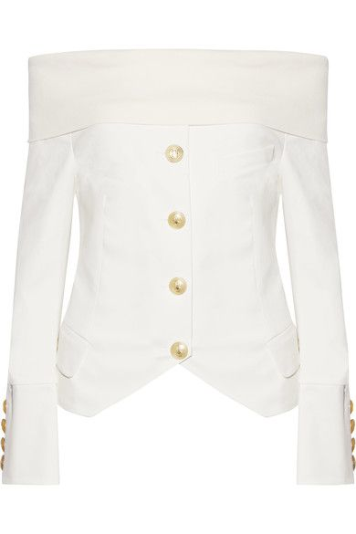 Pierre Balmain - Off-the-shoulder Jersey-trimmed Stretch-cotton Twill Top - White - FR